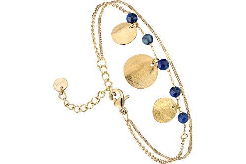 IKITA Lapis Lazuli 2 Row Chain Bracelet, Gold Metallic