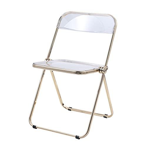 folding chairs Klappstuhl Lasttrager Metallrahmen Make-upstuhl Komfortabler transparenter Stuhl Acryl Esszimmerstuhl 75 × 48 cm (Color : Gold)