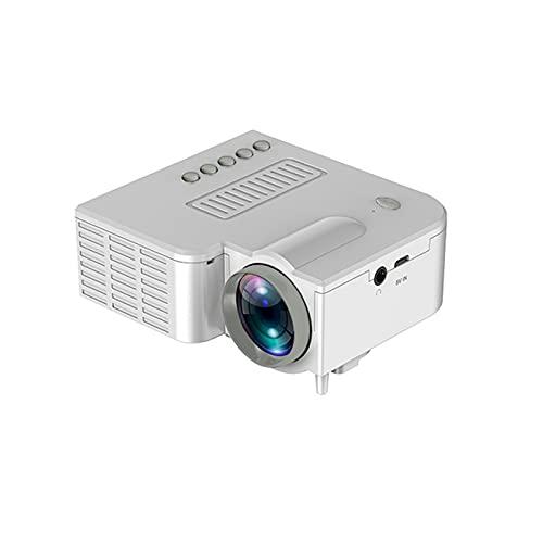 Mini Proyector Portátil, Proyectores De Video De Cine En Casa Full HD 1080P Portátiles con 20.000 Horas De Vida Útil De La Lámpara Compatible con USB, HD, SD, AV, Proyector LED,Blanco