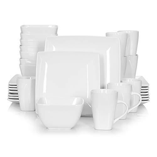 vancasso, Série Soho, Service Complet 32 pièces pour 8 Personnes, Assiette Porcelaine Carrée avec Bol à Céréales et Tasse
