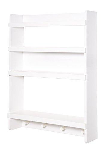 roba Wandregal Dreamworld 3, Wand-Garderobe mit 4 Haken und 4 Ablagen in weiß, Wandpanel für Babyzimmer, Kinderzimmer & Jugendzimmer