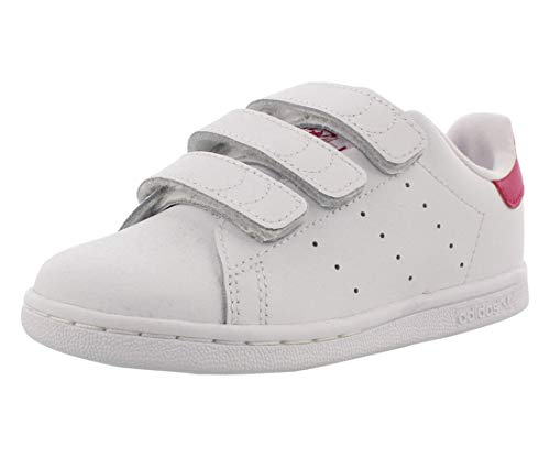adidas Originals Baby Girls Stan Smith Cloudfoam Sneaker, White/White/Bold Pink, 6 Infant