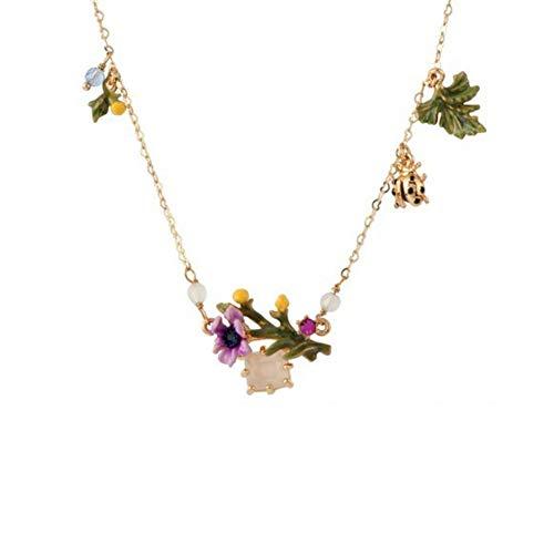 Delicate girl Blume Serie Emaille Glasur Pulver Zirkon Blume Blätter Marienkäfer Multi-Drop Earrings Schlüsselbein Kette
