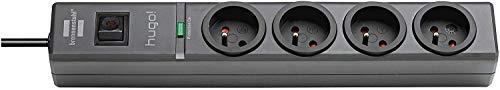Hugo. Brennenstuhl Mehrfachsteckdose, mit 4Steckdosen, 2m Kabellänge, H05VV-F 3G1,5,mit Überspannungsschutz, 19,500A, grau, 1150611314