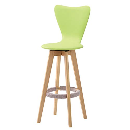 WKLIANGYUANPING Bar Stools Bar Chairs Wooden High Chair Modern Rotation Bar Chairs Bar Swivel Stools For Kitchen Cafe House (Color : Green, Size : 63CM)