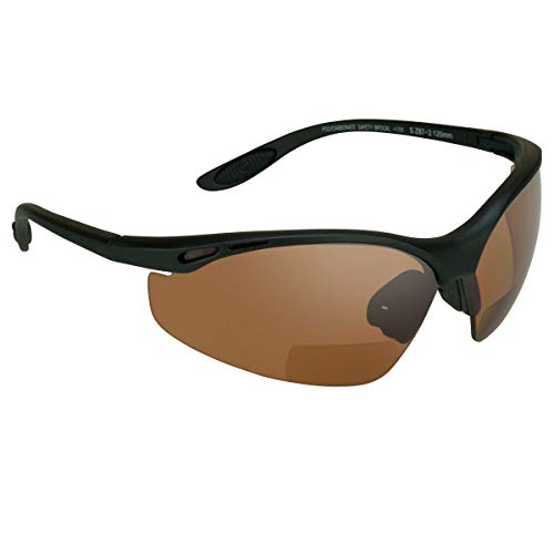 proSPORT Bifocal Safety Glasses Reader Blue Light Blocking Amber HD Lens Z87 +1.50 Wrap-Around