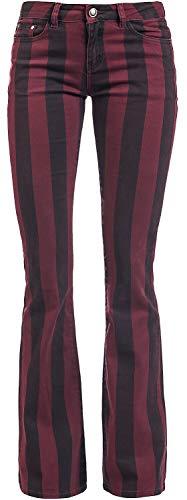 Gothicana by EMP Grace - schwarz/rot gestreifte Hose Frauen Stoffhose schwarz/rot W29L32