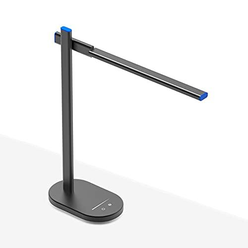 Lámpara de escritorio de la pantalla de escritorio Dimmable 12W Lámpara de escritorio de protección de ojos con puerto USB y función de memoria de alta intensidad Lámpara de oficina, 3 modos de color