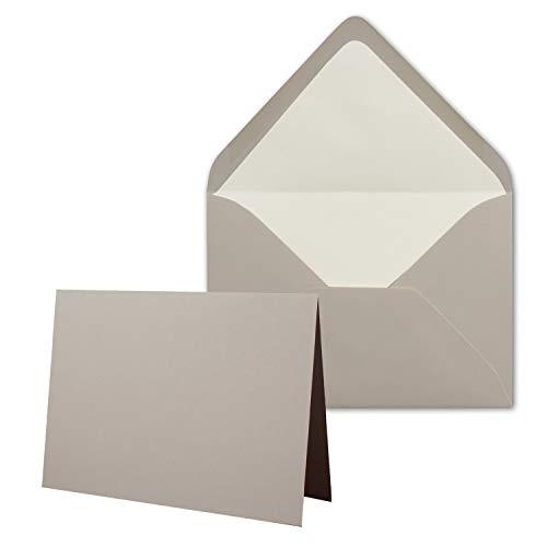 50 x Kartenpaket mit gefütterten Brief-Umschlägen - gerippt - DIN B6 - Taupe - 12 x 17 cm - Nassklebung - NEUSER PAPIER
