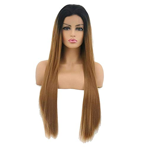 Blond Haar met Black Roots lange rechte for Lace Wigs, Vrouw 26 Inches Gouden Gele High Hair Temperature vezel Pruik for Vrouwen partij of Daily Dress