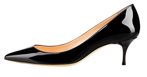EDEFS Damen Pumps Frauen Spitz Kitten Heel Lackleder Kleid Party Pumps Förmlich Schuhe Schwarz Größe EU43