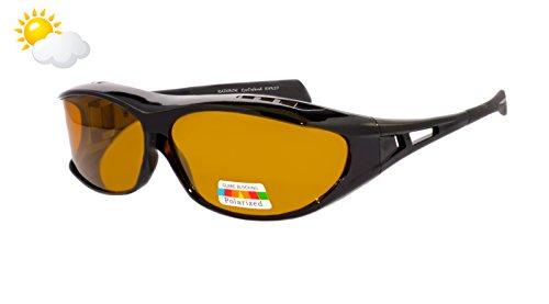 rainbow safety Überbrille Sonnenbrille Herren für Brillenträger Schutzbrille für Sport Radfahren Skifahren Angeln Auto Nachtsichtbrille Polarisierte Gläser RWN20 (Die Sonne Cat.2)