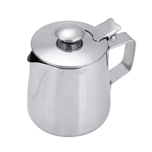 Stainless Steel Coffee Cup Mug Milk Frothing Pitcher Jug with Lid for Latte Coffee Art for Office Kitchen with handle(250mL)