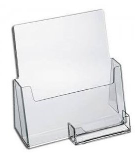 """SOURCEONE.ORG Premium Brochure Holder for 8.5"""" Booklet – with Business Card Container – Clear Acrylic Countertop Organizer"""