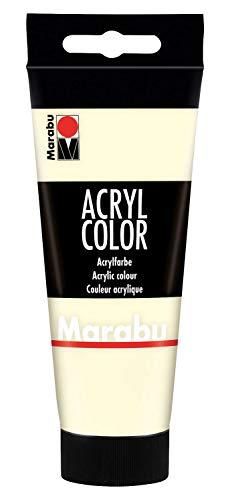 Marabu 12010050271 - Acryl Color elfenbein 100 ml, cremige Acrylfarbe auf Wasserbasis, schnell trocknend, lichtecht, wasserfest, zum Auftragen mit Pinsel und Schwamm auf Leinwand, Papier und Holz