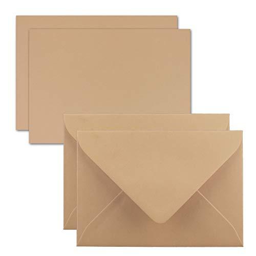 25x Karte mit Umschlag Set aus Einzel-Karten DIN A7-10,5x7,3 cm - Karamellbraun mit Brief-Umschlägen C7 Nassklebung ideale Geschenkanhänger