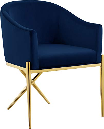 "Meridian Furniture Xavier Collection Modern | Contemporary Velvet Upholstered Dining Chair with Sturdy Steel X Shaped Legs, 25.5"" W x 24.5"" D x 31.5"" H, Navy"