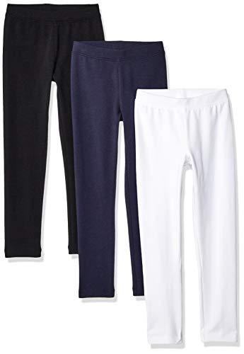 Amazon Essentials Girls' 3-Pack leggings-pants, Black/White/Navy Blazer, L (10)