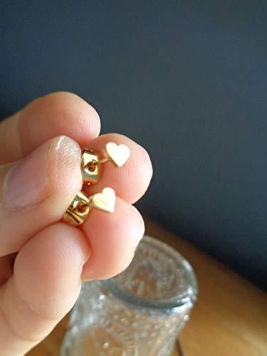 KLEINE HERZ GOLD EDELSTAHL STECKER goldfarbene Ohrringe, Liebe, Herzen, antiallergisch, Stecker