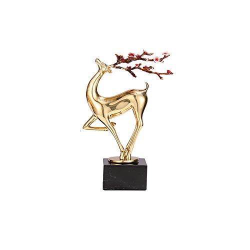 Estatuas Decorativas Decoración de lujo ligero decoración de ciervos de cobre sala de estar creativa gabinete de televisión gabinete de vino para el hogar adornos de escritorio de bronce estatua de ci