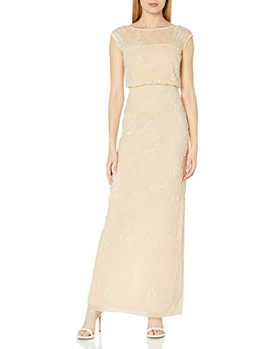 Adrianna Papell Women's Cap Sleeve Beaded Blousson Gown, Champ, 14