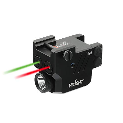 HiLight P3RGL 500lm Pistol Flashlight Red Green Laser Sight Combo Rechargeable Battery and Charger for Glock Series, Sig Sauer, Smith & Wesson, Springfield, Ruger, and Heckler & Koch, etc.