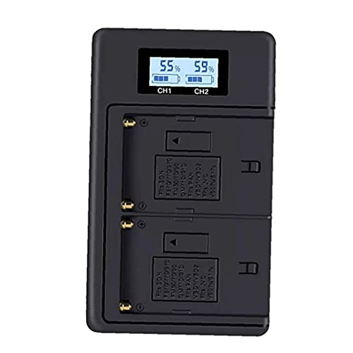 RRunzfon NP-F970 Cargador Digital con Pantalla LCD Compatible con la cámara Sony de 2-batería NP F960 F770 CCD-TR516 SC55, Utilizado para la grabación de vídeo del Estudio del Retrato
