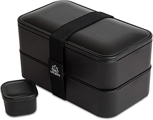 UMAMI Bento Box für Erwachsene/Kinder. New 2021 Edition. 2 Soßentöpfe & 3 Bestecke. Lunch Box für Männer/Frauen. 2 Meal Prep Containers. Mikrowelle. Spülmaschine. Gefrierschrank sicher. BPA frei