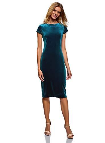 oodji Collection Damska sukienka aksamitna Midi z wycięciem na plecach