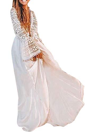 AiJump Kaftan de algodón floral del kimono Bikini Cover Up de Bohemia del vestido del verano Poncho para la playa para Mujer Talla nica Blanco, Blanco 6