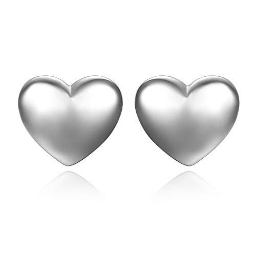 YANGYUAN Pendientes de los Hombres y joyería de los Pendientes en Forma de corazón Pendientes Tremella Genuino de Las Mujeres, Todos los días Joker, hipoalergénico, 1 par (Color : Silver)