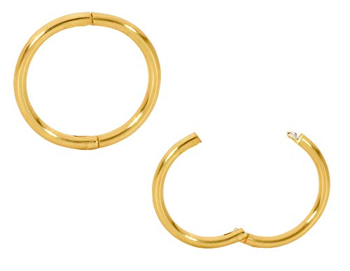 365 Sleepers 1 Pair 22ct Gold Plated Solid Sterling Silver 10mm Hinged Hoop Sleepers Earrings Made in Australia