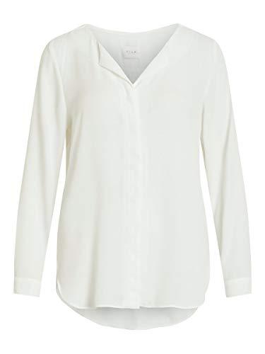 Vila Clothes Damen Vilucy L/S Shirt - Fav Bluse, Weiß (Snow White Snow White), 40 (Herstellergröße: L)