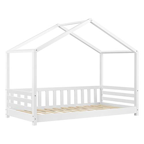 Cama para niños Geiranger 80 x 160 cm Cama Infantil Forma de Casa Cama Simple Cama Individual Protección contra caídas Blanco Lacado Mate