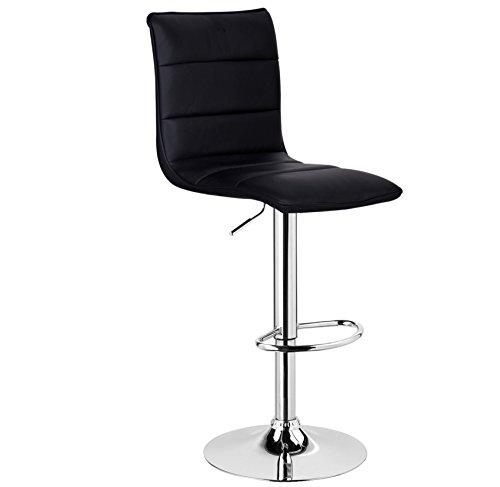 WOLTU BH15sz-1 1 x Barhocker Design Bar Hocker, 1 Stück Barstuhl, stufenlose Höhenverstellung, verchromter Stahl, pflegeleichter Kunstleder, gut gepolsterte Sitzfläche, Antirutschgummi, Schwarz
