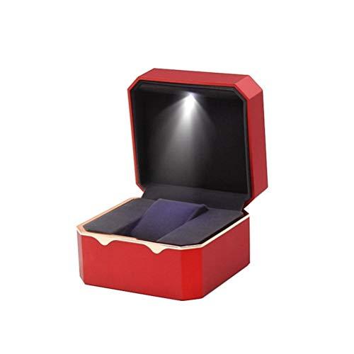 Yousiju Caja de Reloj LED de Moda Caja de Reloj de Pulsera de joyería de Lujo con Paquete de Almohada Soporte de Almacenamiento de Caja (Color : Red)
