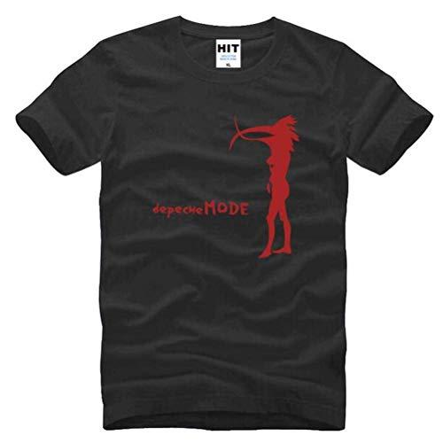 Herren Kreative Baumwolle Super Premium Atmungsaktive Mode Kurzarm Rundhalsausschnitt Einfach Reine Lose T-Shirt,Schwarz Rot, XL