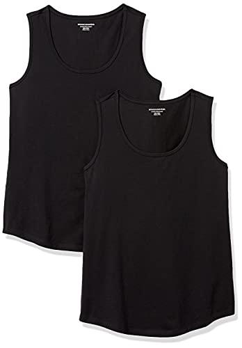 Amazon Essentials Camisetas sin Mangas de Ajuste clásico 100% algodón Camisa, Paquete de 2 Negro/Negro, XXL