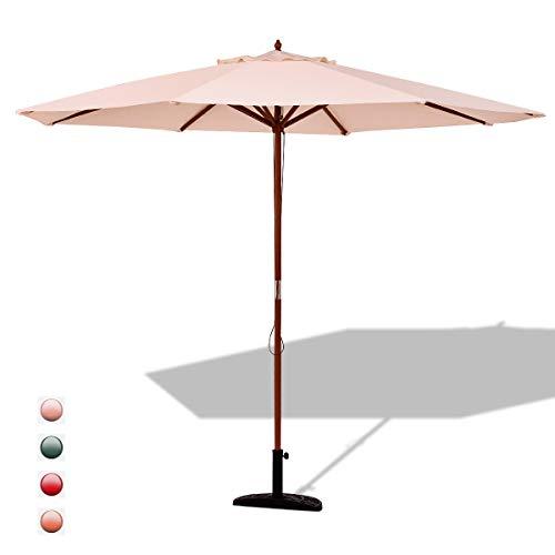 GOPLUS Sonnenschirm Gartenschirm Marktschirm Kurbelschirm Terrassenschirm Ampelschirm StrandschirmKurbelsonnenschirm, Farbewahl, aus Polyesterfaser und Holz,300cm (Beige)