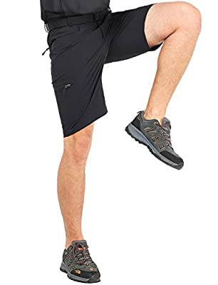 MIER Men's Quick Dry Hiking Shorts Lightweight Cargo Shorts with 6 Pockets, Stretchy, Water Resistant, 34, Black