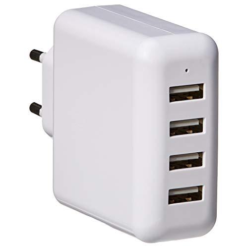 AmazonBasics – Cargador USB de pared de 4 puertos, 40W, Blanco
