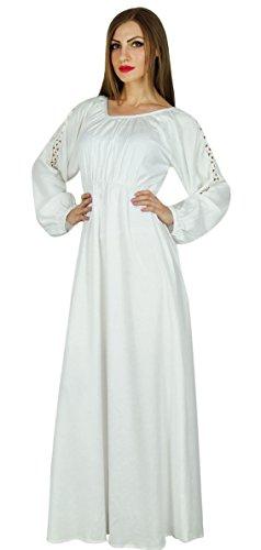 Bimba Frauen Boho Gotik Lange Maxi-Kleid-Spitze mit Langen Ärmeln weißen Kleid
