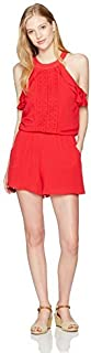 My Michelle Women's Circle Neck Romper with Ruffles