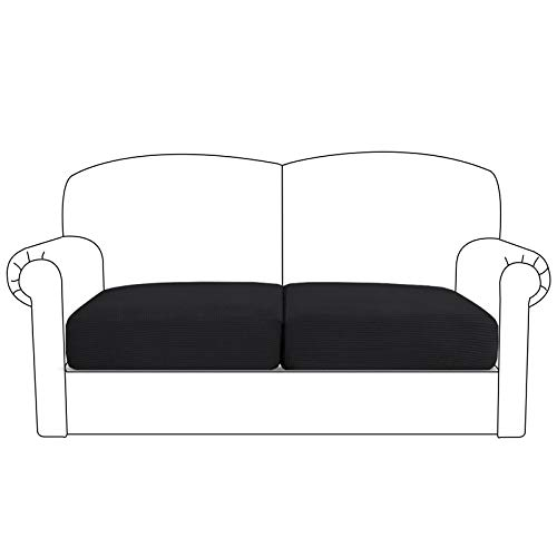 High Stretch Cushion Cover Sofa Cushion Furniture Protector for Loveseat Seat Sofa slipcover Sofa Cover with Elastic Bottom(2 Pieces Cushion Covers, Black)