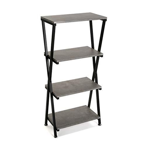 Versa 21660002 Estantería Elin 4 baldas, Madera y Metal, Efecto Piedra, Negro/Gris, 4 estantes