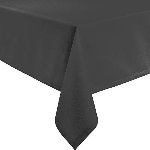 Erwin Müller Tischwäsche, Tischdecke Uni, Krefeld Graphit Größe 130x250 cm - fleckabweisend, schmutzunempfindlich und leicht zu reinigen, Leinen-Optik (weitere Farben, Größen)