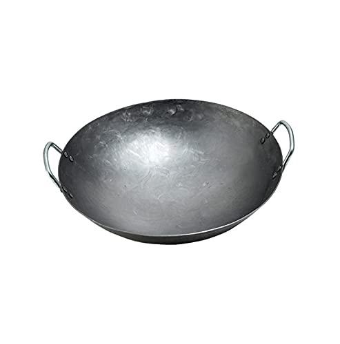 tent Wok/Padella in Ghisa - Wok in Ghisa Non Patinato, Wok Binaurale Professionale Adatto per Stufa A Gas - Non-Stick Wok Chef Wok,42CM