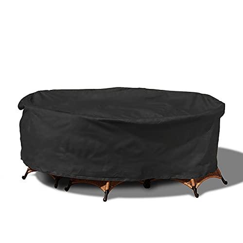Rund Gartenmöbel Abdeckung,Runder Möbelbezug für den Außenbereich,Wasserdicht, Winddicht, UV-Beständiges,Gewebe Schutzhülle,Schwarz