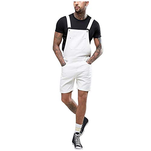 STRIR Peto Corto Hombre - Pantalones Cortos de Mezclilla Peto Vaquero para Hombre Pantalones Cortos de...