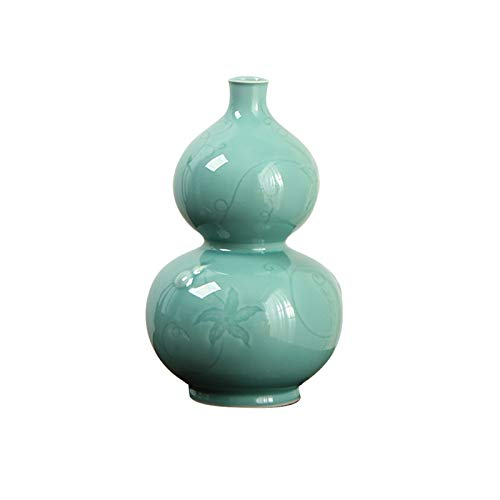 Estatua de Buda Botella de calabaza hecha a mano Ornamentos de artesanía de cerámica Modelo Decoración de la sala China Retro Wu Lou Jarrón Práctico y hermoso Colección de obras de arte Estatua Buda S